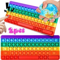 Big Size Keyboard Silicone Rainbow Bubble Fidget Toy Anxiety Stress Relief Gifts