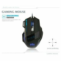 USB Wired Colorful Backlit Gaming Mouse 7 Button 5500DPI For Laptop PC Win10 OS