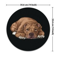 Super Large Size Round Mousepad Dog Design For PC Home Office and Gaming Desk
