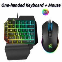 Ergonomic One-Handed RGB Backlit Keyboard Wired Gaming Mouse Suit For PUBG LOL