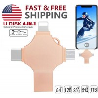 64GB USB 4in1 Flash Drive Memory Stick Type C OTG Thumb For iPhone iPad Android