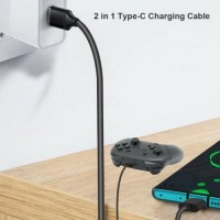 2 in 1 USB C Cable for Nintendo Switch Switch Lite Console Pro Controller