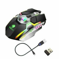 WIRELESS MOUSE GAMING LED LASER USB OPTICAL GAME RECHARGABLE SILENT LAPTOP BLACK