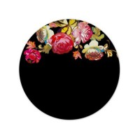 Flowers Black Round Mouse Pad with Stitched Edges & Non-Slip Base Smooth Surface