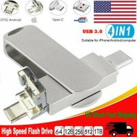 64GB-1TB USB 3.0 OTG Flash Drive Memory Stick Type C 4in1 For iPhone Android PC