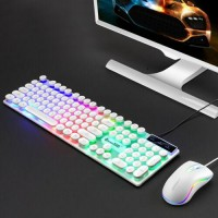 Rainbow Gaming Keyboard And Mouse Set Multi-Color Changing Backlight- White O8Y5